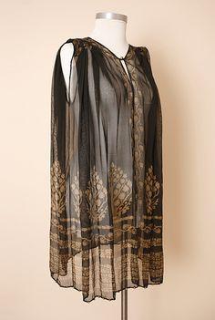 Fortuny Stenciled Silk Gauze Tunic, 1920's