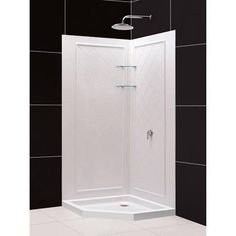 DreamLine DL618401 Shower Base and Wall White Acrylic Neo-Angle 3-Piece Corner Shower Ki