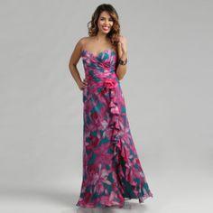 Issue New York Long Flower Silk Dress | Spring brides maid dress pink purple