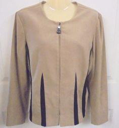KARI'S PLACE LADIES Jacket Super Soft Polyester/Spandex Tan w/black Stripes M #Browning #ButtonDownJacket #Careercasual