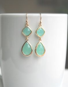 Mint Green Earrings in Gold. Mint Earrings. by BellaJewelsInc