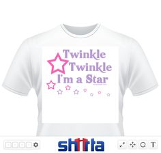 "Cute Design Twinkle Twinkle I'm a Star, parody from the popular nursery rhyme: ""Twinkle Twinkle little star"" with Cute  and purple stars surrounding it."