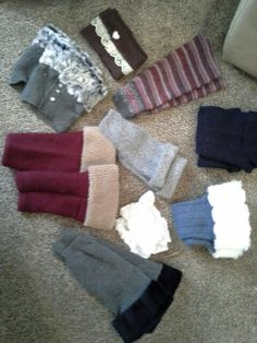 Boot socks made from felted wool sweaters.  Add fur and buttons.