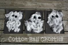 Cotton Ball Ghost Craft - Easy Halloween Craft for toddlers and preschoolers - Happy Hooligans