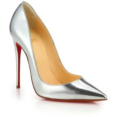Christian Louboutin So Kate Metallic Leather Pumps ($725) ❤ liked on Polyvore featuring shoes, pumps, heels, christian louboutin, louboutin, apparel & accessories, silver, cushioned shoes, real leather shoes and red sole pumps