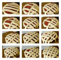 Step-by-step photos of how to assemble a lattice-top pie crust.
