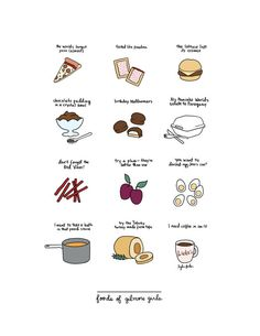 Foods of Gilmore Girls Print  Hand-Illustrated by roaringsoftly
