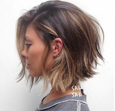 Ashe roots with warm balayage / layered bob