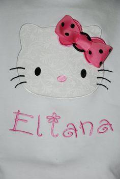 Hello Kitty  Shirt and matching Skirt set  custom name by Patuzis, $34.00