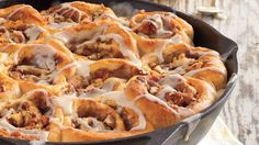 These rolls feature a buttery, brown sugar-pecan filling as well as a rich and creamy vanilla glaze. Better yet, the easy yeast-roll dough rises in just 30 minutes.R