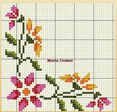 Cross Stitch Borders, Cross Stitch Rose, Cross Stitch Flowers, Counted Cross Stitch Patterns, Cross Stitching, Cross Stitch Embroidery, Hand Embroidery Patterns, Applique Patterns, Palestinian Embroidery