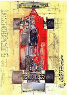 Vw Vintage, Vintage Race Car, Ferrari F1, Grand Prix, Pix Art, Car Part Furniture, Lux Cars, Gilles Villeneuve, Technical Illustration