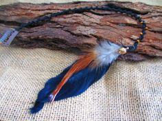 Macrame black clip in feather hair extension. by NoodgeDesigns, $24.99