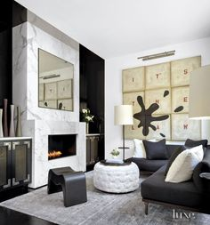 Contemporary Black Den with Black Sectional