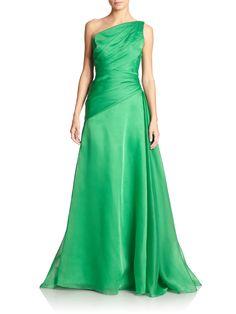 Ml Monique Lhuillier Moire One-Shoulder Gown in Green     jαɢlαdy