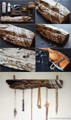 DIY Driftwood Jewelry Organizer Hair Accessories, Driftwood Jewelry, Meat, Food, Jewelry Organization, Driftwood Projects, Home, Eten, Hoods