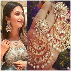 Kundan Chandbali Earrings Indian Jewelery, indian earrings, traditional jewelry, high quality gold finish, bollywood jewelry Source by Indian Jewelry Earrings, Jewelry Design Earrings, Gold Earrings Designs, Bridal Jewelry, Jewelery, Earrings For Saree, Silver Jewelry, Silver Rings, Saree Jewellery