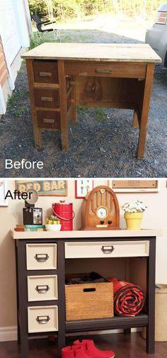 Diy Garden Furniture, Diy Furniture Easy, Refurbished Furniture, Repurposed Furniture, Furniture Storage, Redoing Furniture, Decoupage Furniture, Antique Furniture, Cheap Furniture Makeover