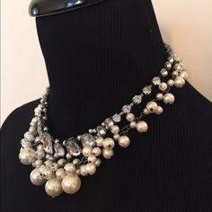 """NWOT 2-Tier Graduated Rhinestones & Faux Pearls Bold but not over done! 2-tiers of sparkle with the fist of graduated rhinestones and the second of various diameter faux white pearls. Just lovely. Adjustable from 16"""" to 18"""" for your comfort. Gunmetal setting. Never worn. Jewelry Necklaces"""