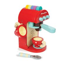 Køb Le Toy Van Èspresson kaffemaskine i træ til børn online her | LirumLarumLeg