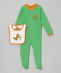 Take a look at this Green & Orange T-Rex Footie & Bib - Infant on zulily today!