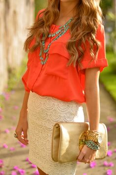 Turquoise statement necklace and bracelet mixed with gold accessories, a lacy cream skirt, and silk coral shirt - love.