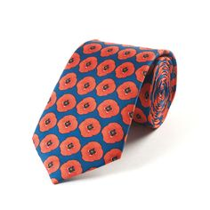 Remembrance Poppy SIlk Tie by Fox & Chave
