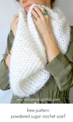 Powdered Sugar Crochet Infinity Scarf Pattern Powdered Sugar Crochet Infinity Scarf Pattern – Mama In A Stitch. Shawl Crochet, Crochet Infinity Scarf Pattern, Bonnet Crochet, Crochet Scarves, Crochet Clothes, Easy Crochet, Knit Crochet, Crochet Patterns, Scarf Patterns