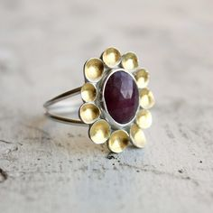 Rose Cut Sapphire, sterling silver and 24k gold cocktail ring by Moira K. Lime