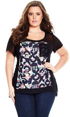 City Chic Spliced Geo Top - Women's Plus Size Fashion - City Chic Your Leading…