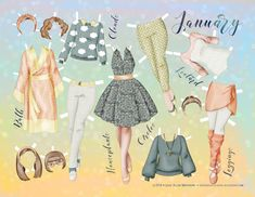Paper dolls by Julie Allen Matthews. For the whole month of January, I'll be using a doodle-a-day prompt to create a paper doll set.
