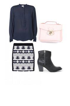 Ruta de tapeo: Camisa y falda VILA, Bolso KLING, Zapatos MUSTANG