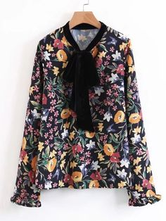 Long Sleeve Blouses. Top Decorated with Knot, Frill. Designed with Round Neck. Regular fit. Perfect choice for Casual wear. Floral design. Trend of Spring-2018, Fall-2018. Designed in Multicolor.