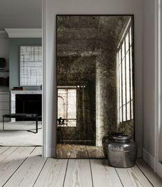 Home Decoration Design Ideas Product Interior Design Blogs, Interior Decorating, Distressed Mirror, Antiqued Mirror, Mirror Mirror, Mirror On The Wall, Large Leaning Mirror, Antique Mirror Tiles, Floor Mirrors