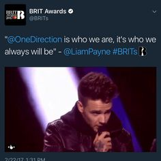Liam Payne making his speech at the Brit Awards when One Direction won Best Music Video Of The Year