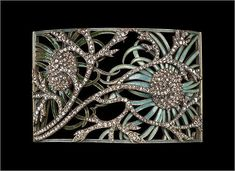 """Dog collar"" plaque with a floral motif , 1899–1901. René Lalique (French, 1860–1945). Gold, enamel, and diamond."