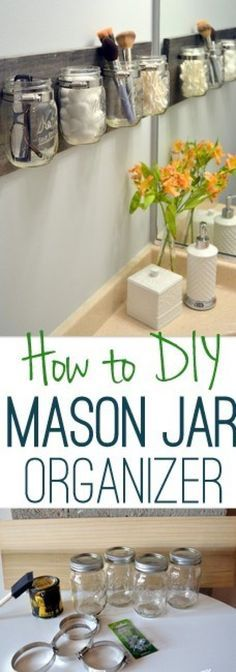 Get your bathroom essentials organized in time for spring with this easy DIY mason jar organizer. diy bathroom decor How to Create an Easy DIY Mason Jar Organizer Mason Jar Projects, Mason Jar Crafts, Diy Crafts With Mason Jars, Decorating With Mason Jars, Pot Mason Diy, Mason Jar Garden, Diy Simple, Hanging Mason Jars, Diy Hanging