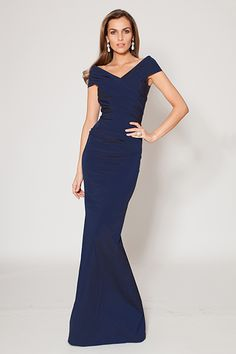 Blue ruched off-the-shoulder gown by Teri Jon