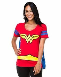 Dc Comics Wonder Woman Blue Stripes Juniors Costume Cape T-shirt I want to be wonder woman for halloween she is incredible! #DCcomics #wonderwoman #halloween #halloween2017 #superhero