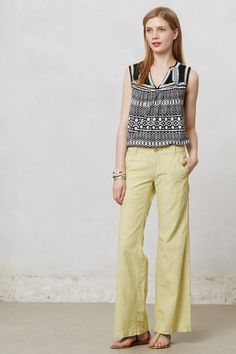 Love this outfit! Geo-Stitched Tank - Anthropologie.com
