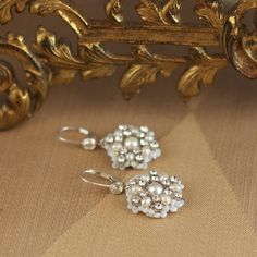 Sonnet | Bridal Drop Earrings with Lace Pearls — Edera Jewelry | Handmade Lace Bridal Designs