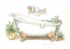 Vintage Bathtub, Vintage Bathrooms, Tub Paint, Bathroom Artwork, Image Deco, Printed Napkins, Crafts With Pictures, Painted Wood Signs, Girl And Dog