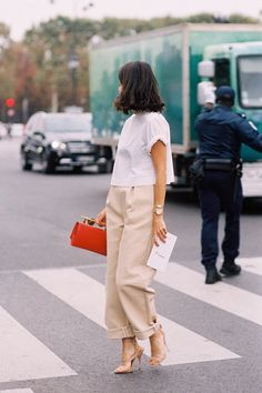 Boxy top and trouser combo.