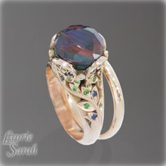 Purple Spinel with Opal Wedding Set with Sapphires, Tzavorites, and Diamonds and Hammered Finish 14kt Rse Gold Wedding Band - LS3225