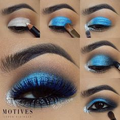 """A pictorial of ✨@HelloFritzie✨'s Blue-tiful look with #FlutterLashes in #Sierra from our Mink Colors Collection Step by step by @HelloFritze using @motivescosmetics by @lorenridinger @lala products::1.""""in the buff"""" creaseangel khol 2.""""lust dust"""" on top of angel 3.star dust on tear duct4. onyx eyeshadow on outer corner, blend out in to crease 5.onyx khol liner on waterline and smudge with onyx eyeshadow on lower lashes .. For lala V&L mascara ✨Visi... #eyeshadowsstepbystep"""