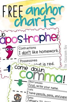 free anchor charts for apostrophes and commas, helpful for teaching writing and grammar in the elementary classroom #teachinggrammar #anchorcharts #teachingwriting