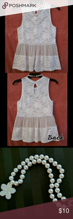 White Baby Doll Top & Pearl Flower Necklace Cute sheer baby-doll style top with floral embellishments. Necklace is not attached to the shirt, but is included in the price. You Are Not Alone Tops Tank Tops