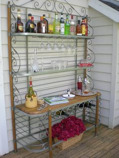 A Full Bar with S-Shaped Metal Accents