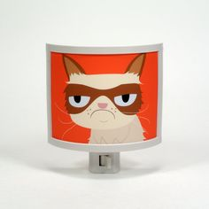 Grumpy Cat Night Light negative adorable art by by CommonRebels, $22.00