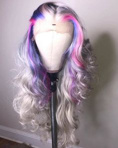 Wiccawigs Customized Full Lace Wigs With Baby Hair – Hair Length Lace Front Wigs, Lace Wigs, Hair Colorful, Creative Hair Color, Pretty Hair Color, Colored Wigs, Hair Laid, Lace Hair, Wig Hairstyles